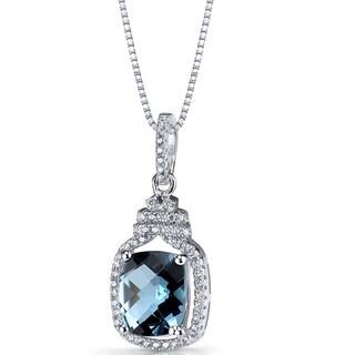Oravo Sterling Silver 3 1/4ct TGW London Blue Topaz Halo Crown Pendant Necklace