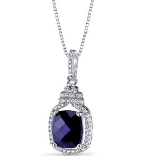 Oravo Sterling Silver 3 3/4ct TGW Created Blue Sapphire Halo Crown Pendant Necklace