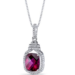 Oravo Sterling Silver 3 3/4ct TGW Created Ruby Halo Crown Pendant Necklace