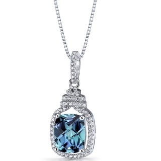 Oravo 3.75-carat Simulated Alexandrite Sterling Silver Halo Crown Pendant Necklace