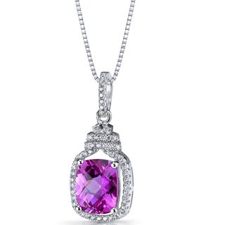 Oravo Sterling Silver 3 3/4ct TGW Created Pink Sapphire Halo Crown Pendant Necklace