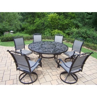 Aluminum 7-Piece Outdoor Patio Dining Set with Swivel Rocker Chairs