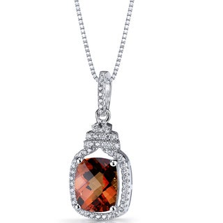 Oravo Sterling Silver 4ct TGW Created Padparascha Halo Crown Pendant Necklace