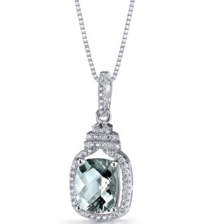 Oravo Sterling Silver 2 1/2ct TGW Green Amethyst Halo Crown Pendant Necklace
