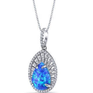 Oravo Sterling Silver 2 1/4ct TGW Created Blue Opal Nebula Pendant Necklace