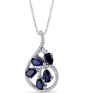 Oravo Sterling Silver 2 1/2ct TGW Created Blue Sapphire Dewdrop Pendant Necklace