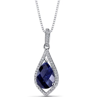 Oravo Sterling Silver 3 3/4ct TGW Created Blue Sapphire Teardrop Pendant Necklace