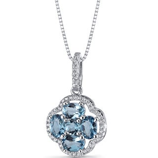 Oravo Sterling Silver 2 1/4ct TGW London Blue Topaz Clover Pendant Necklace