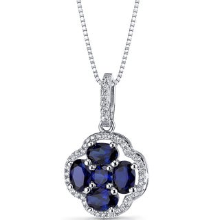 Oravo Sterling Silver 2 1/4ct TGW Created Blue Sapphire Clover Pendant Necklace