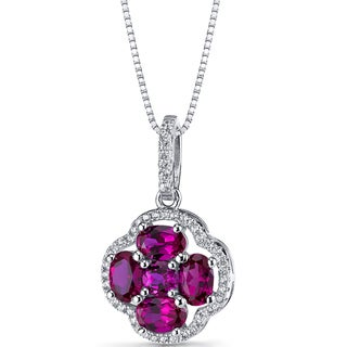 Oravo Sterling Silver and Created Ruby Clover Pendant Necklace