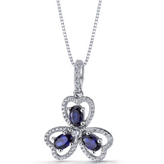 Oravo Sterling Silver 1 1/2ct TGW Created Blue Sapphire Trinity Pendant Necklace