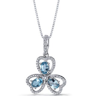 Oravo Women's Sterling Silver and 1.5-carat London Blue Topaz Trinity Pendant Necklace With 18-inch Box Chain
