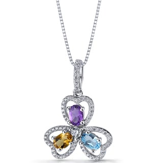 Oravo Amethyst, Citrine, and Swiss Blue Topaz Sterling Silver Trinity Pendant Necklace