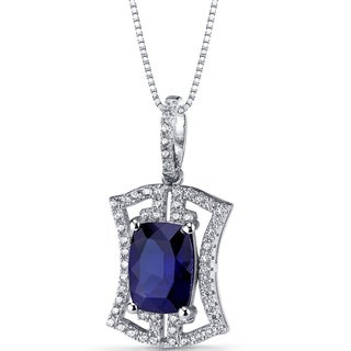 Oravo Sterling Silver 4.5ct TGW Created Blue Sapphire Art Deco Pendant Necklace
