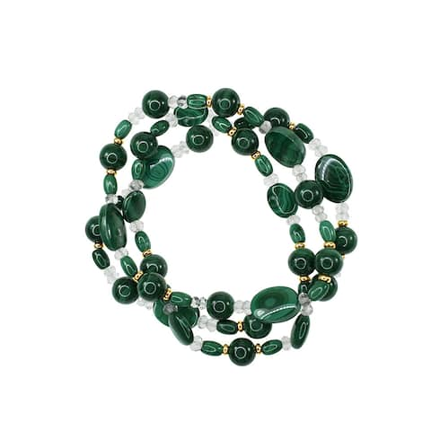14k Yellow Gold Malachite and Green Amethyst 3-row Stretch Bracelet