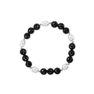 White Fresh-water Pearls Faceted Black Onyx Bracelet