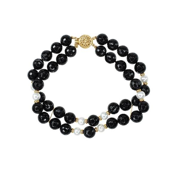 14k Yellow Gold Black Onyx Fresh-water Pearls 2-row Bracelet