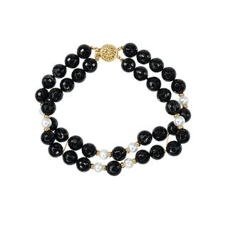 14k Yellow Gold Black Onyx Fresh-water Pearls 2-row Bracelet