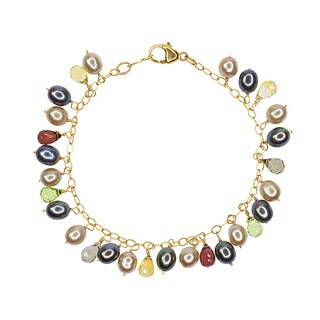 Yellow Gold Freshwater Pearl and Gemstone Bracelet
