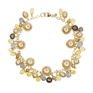 14-karat Yellow Gold Multicolored Freshwater Pearl, Citrine, and Smoky Quartz Brio Bracelet
