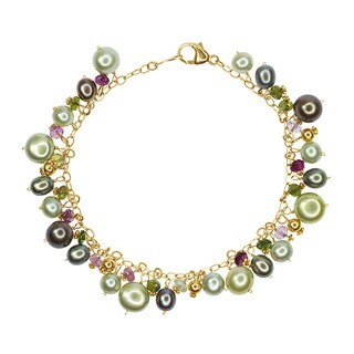 14k Yellow Gold Multi-sized Green Fresh-water Pearls Tourmaline Bracelet
