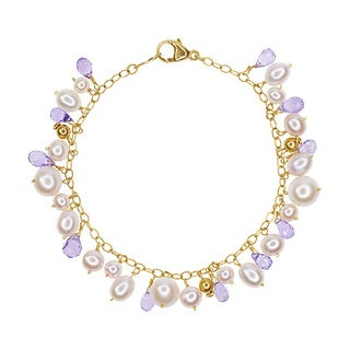 14k Yellow Gold Multi-sized Pink Fresh-water Pearls Amethyst Bracelet