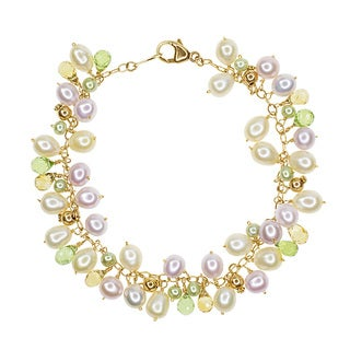 14k Yellow Gold Multicolored Freshwater Pearl Citrine Peridot Bracelet