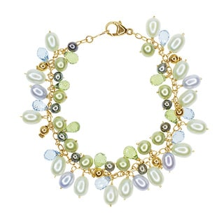 14k Yellow Gold Freshwater Pearl, Blue Topaz, and Peridot Bracelet