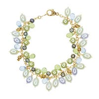 14k Yellow Gold Freshwater Pearl, Blue Topaz, and Peridot Bracelet