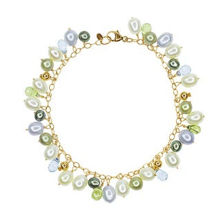 14k Yellow Gold Freshwater Pearl, Blue Topaz, and Peridot Charm Bracelet