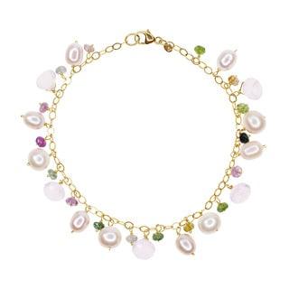 14-karat Yellow Gold Freshwater Pearl Rose Quartz Tourmaline 7.5-inch Bracelet