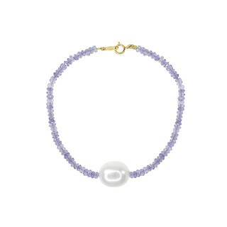 14k Yellow Gold, White Freshwater Pearl, and Lolite Beaded Bracelet