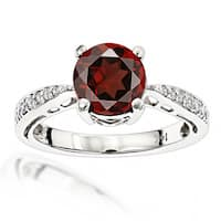 Luxurman Women's Affordable 1 1/2 Carat Garnet and Diamond Engagement Ring (H-I; SI1-SI2)