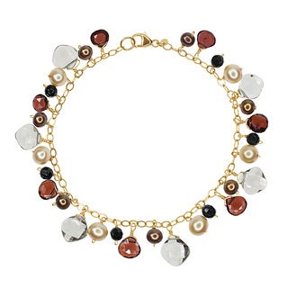 14k Yellow Gold Freshwater Pearl, Black Onyx, Smoky Quartz, and Garnet Beaded Bracelet
