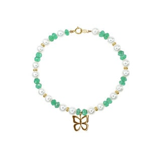 14k Yellow Gold Freshwater Pearl and Green Onyx Beaded Bracelet With 14k Gold Butterfly Charm