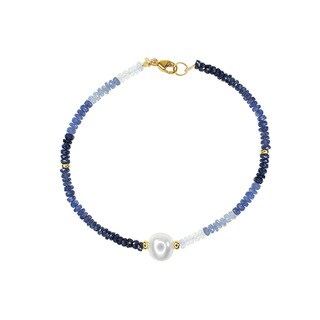 14k Yellow Gold Freshwater Pearl Sapphire Bracelet