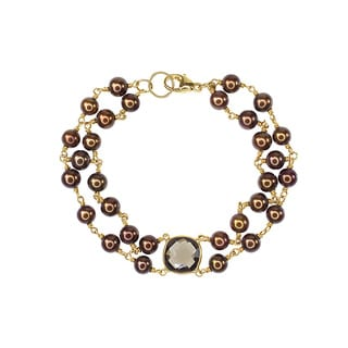 14k Yellow Gold Chocolate Freshwater Pearls and Smoky Quartz Bracelet
