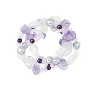 Multicolor Amethyst Pearl and Pink Quartz Three-row Stretch Bracelet