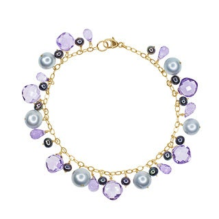 14-karat Yellow Gold Grey Freshwater Pearl and Amethyst Bracelet - Silver