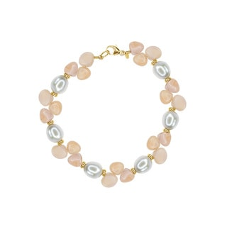 Freshwater Pearl and Moonstone Beaded Bracelet