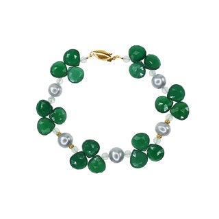 14k Yellow Gold, Grey Freshwater Pearl, Green Onyx, and Green Amethyst Beaded Bracelet