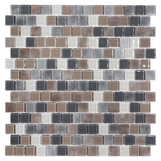 Tides White, Tan, Grey Glass Mosaic Tiles (Pack of 5)
