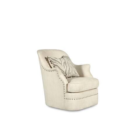 A.R.T. Furniture Amanda Ivory Swivel Armchair with Nail Head Trim