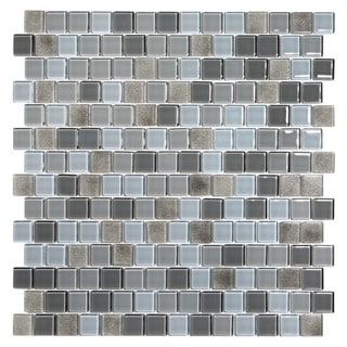 Grey and Taupe Glass Glossy Mosaic Tiles