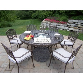 Antique Bronze Aluminum Cushioned 8-Piece Outdoor Dining Set