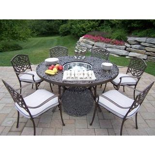 Incroyable Antique Bronze Aluminum Cushioned 8 Piece Outdoor Dining Set