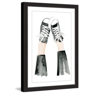 Marmont Hill - 'Black and White Kicks' by Dena Cooper Framed Painting Print