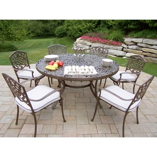 Oakland Living Aluminum Antique Bronze Finish 7-piece Dining Set with 6 Cushioned Stackable Chairs