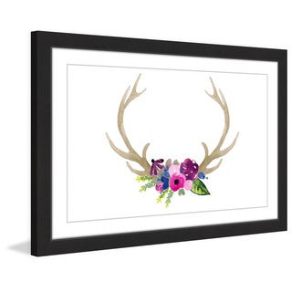 Marmont Hill - 'Floral Antlers' by Dena Cooper Framed Painting Print