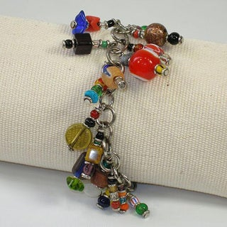 Silverplated Brass Beads Colorful Charm Bracelet (Kenya) (As Is Item)